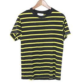 【中古】lot holon ロットホロン ガーメントダイボーダーTシャツ メンズ ブラック×イエロー 44
