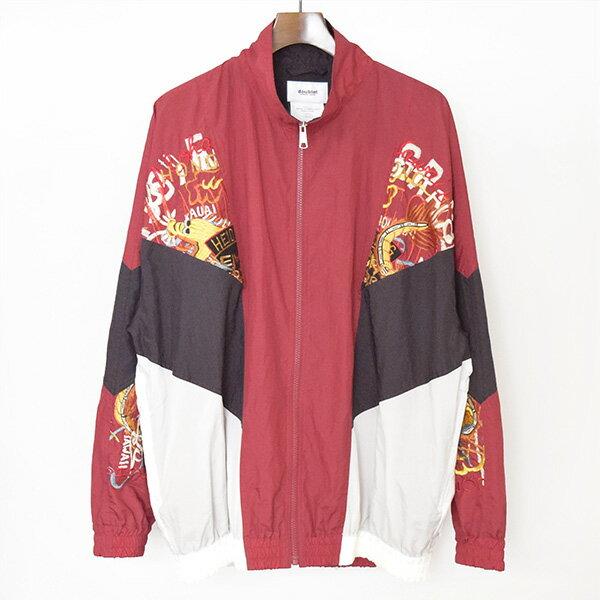 【中古】doublet ダブレット 18SS BREAK UP EMBROIDERY TRACK JK RED 刺繍トラックジャケット メンズ レッド M