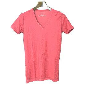 【中古】AKM エーケーエム 裏地デザインVネックTシャツ メンズ ピンク