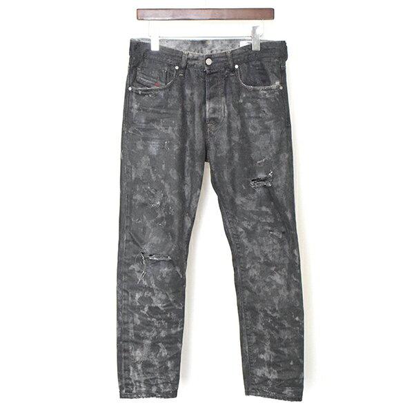 【中古】DIESEL ディーゼル 18AW MHARKY SLIM-SKINNY クラッシュ加工コーティングデニムパンツ メンズ ブラック 30