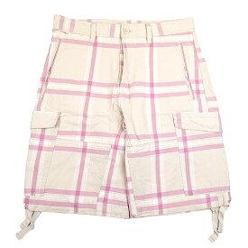 【中古】DIESEL ディーゼル チェック柄ショートカーゴパンツ メンズ ピンク 32