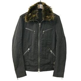 【中古】SHELLAC シェラック ファー付きジップアップナイロンライダースジャケット メンズ ブラック 46