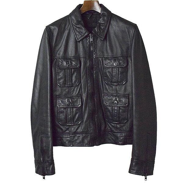 【中古】Dior HOMME ディオールオム 07AW 4ポケットレザージャケット メンズ ブラック 46