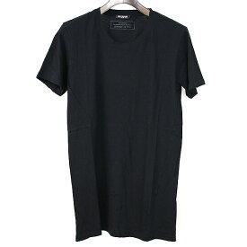 【中古】BALMAIN HOMME バルマン オム ダメージ加工クルーネックTシャツ メンズ ブラック XS