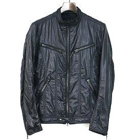【中古】SHELLAC シェラック マルチジップナイロンライダースジャケット ブルゾン メンズ ブラック 44