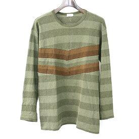 【中古】COMME des GARCONS HOMME コムデギャルソン オム センターシームボーダーロングスリーブTシャツ メンズ カーキ サイズ不明