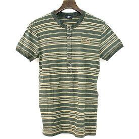 【中古】DOLCE&GABBANA ドルチェ&ガッバーナ ロゴ刺繍ヘンリーネックボーダーTシャツ メンズ グリーン S