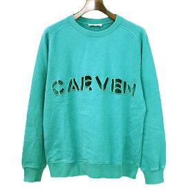 【中古】CARVEN カルヴェン ロゴ型抜きスウェットトレーナー メンズ グリーン M