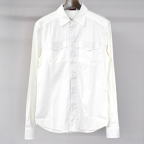【中古】PRADA SPORT プラダスポーツ コットンナイロンストレッチダブルポケットシャツ メンズ ホワイト S