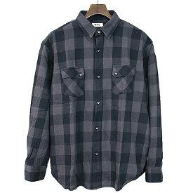 【中古】RHC Ron Herman アールエイチシー ロンハーマン ブロックチェック柄サイドポケットシャツ メンズ ブラック×グレー L