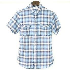 【中古】nonnative ノンネイティブ 12SS チェック柄半袖ネルシャツ メンズ ブルー 0