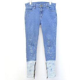 【中古】Danke schon ダンケシェーン 18SS 裾ジップペイントスキニーデニムパンツ インディゴ XL メンズ