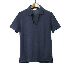 【中古】BALENCIAGA バレンシアガ 14AW スキッパーカラー鹿の子ポロシャツ ネイビー XS メンズ