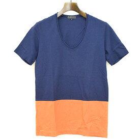 【中古】BARNEYS NEW YORK バーニーズ ニューヨーク バイカラーVネックTシャツ ネイビー S メンズ