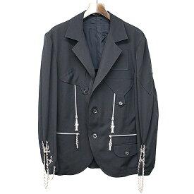 【中古】Yohji Yamamoto POUR HOMME ヨウジヤマモト プールオム 18SS LOOK28 ウールシワギャバジンテント布仏像ミリタリージャケット ブラック 2 メンズ