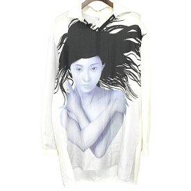 【中古】Yohji Yamamoto POUR HOMME ヨウジヤマモトプールオム 18SS LOOK16 内田すずめ『太陽の子』後開きシルクシャツ ホワイト 2 メンズ
