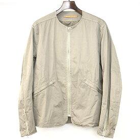 【中古】SCYE BASICS サイベーシック 17SS Cotton Satin Zip Up Jacket ノーカラージップアップジャケット ベージュ 38 メンズ