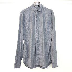 【中古】Dior HOMME ディオールオム ピンストライプ比翼長袖シャツ グレー 39 メンズ