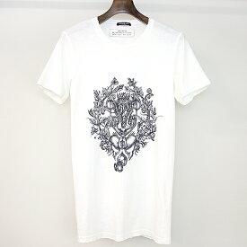 【中古】BALMAIN HOMME バルマン オム ダメージ加工プリントTシャツ ホワイト S メンズ