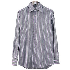 【中古】DOLCE&GABBANA ドルチェ&ガッバーナ ストライプドレスシャツ グレー 39(15 1/2) メンズ