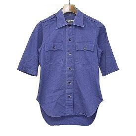 【中古】BALENCIAGA バレンシアガ 17SS LOOK20 ミリタリーショートスリーブシャツ パープル 37 メンズ