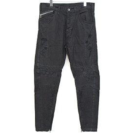 【中古】JULIUS ユリウス 18AW Rider Pants ダメージ加工デニムパンツ ブラック 2 メンズ