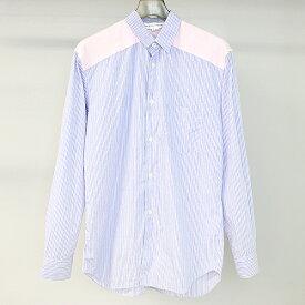 【中古】COMME des GARCONS SHIRT コムデギャルソンシャツ 13SS ヨーク切替チェック柄ストライプシャツ ブルー S メンズ