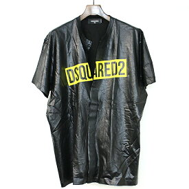 【中古】DSQUARED2 ディースクエアード 19SSコーティングフロントスリットボックスロゴTシャツ ブラック XXL メンズ