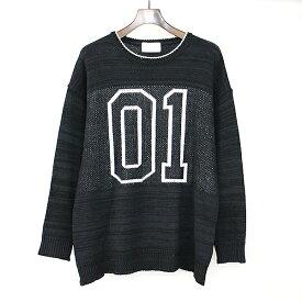 【中古】iroquois イロコイ ナンバリングニットセーター ブラック 2 メンズ