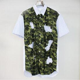 【中古】COMME des GARCONS SHIRT コムデギャルソンシャツ 16SS 迷彩柄切替カッティングデザインストライプ半袖シャツ ブルー L メンズ