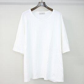 【中古】ANSEASON ANREALAGE アンシーズン アンリアレイジ 19SS PATCHWORK JACQUARD BIG TEE ジャガードパッチTシャツ ホワイト F メンズ