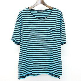【中古】MOON AGE DEVILMENT ムーン エイジ デビルメント 17SSビッグシルエットボーダーTシャツ ブルー 46 メンズ