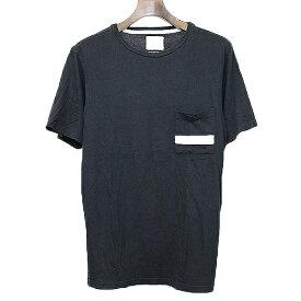 【中古】SATURDAYS SURF NYC サタデイズサーフニューヨーク ボーダー柄ポケットTシャツ ブラック S メンズ