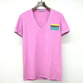 【中古】DSQUARED2 ディースクエアード VネックプリントTシャツ ピンク M メンズ