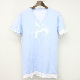【中古】DOLCE&GABBANA ドルチェ&ガッバーナ VネックレイヤードプリントTシャツ サックスブルー 46 メンズ