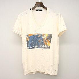 【中古】DOLCE&GABBANA ドルチェ&ガッバーナ ペプシプリントダメージ加工VネックTシャツ ペールオレンジ 48 メンズ
