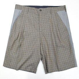 【中古】LOUIS VUITTON ルイヴィトン チェックタックハーフパンツ ブラウン 40 メンズ