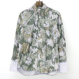 【中古】COMME des GARCONS SHIRT コムデギャルソン シャツ 12SS レイヤードスリーブカモフラストライプコットンブロードシャツ カーキ S メンズ