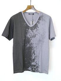 【中古】SHELLAC シェラック ×semantic design プリントVネックTシャツ グレー L メンズ