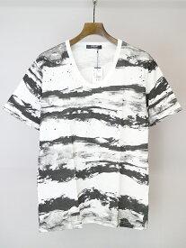 【中古】SHELLAC シェラック ×semantic design プリントUネックTシャツ ホワイト XL メンズ