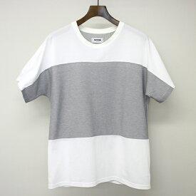 【中古】FACTOTUM ファクトタム 15SS クールマックスカノコドルマンスリーブTシャツ ホワイト×グレー 46 メンズ