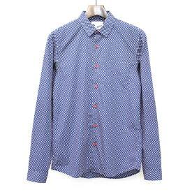 【中古】LES TROPHEES POUR QUILP レ トロフィー プール クイルプ 15SS Short Collar L/S Shirt ショートカラードットシャツ ネイビー XS メンズ