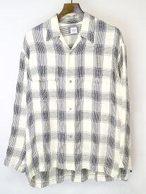 【中古】EDIFICE エディフィス 19SS LA BOUCLE チェック柄クラシックジャカードシャツ アイボリー 48 メンズ