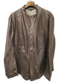 【中古】GIORGIO ARMANI ジョルジオアルマーニ パンチングパイソンレザージャケット ブラウン 52 メンズ