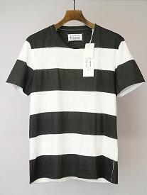 【中古】Maison Martin Margiela10 メゾンマルタンマルジェラ10 10AW 手刷りボーダープリントTシャツ ブラック×ホワイト 46 メンズ
