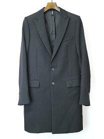 【中古】Dior HOMME ディオールオム 03AW LUSTER期 ピークドラペルウールサージロングジャケット ブラック 46 メンズ