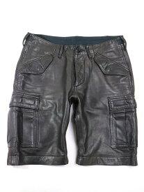 【中古】wjk ダブルジェイケイ M-65レザーショーツ ショートパンツ ブラック S メンズ