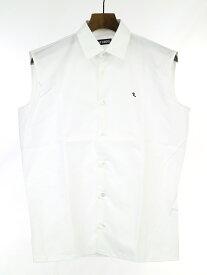 【中古】RAF SIMONS ラフシモンズ R刺繍ノースリーブブロードシャツ ホワイト 44 メンズ