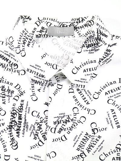 【中古】DiorHOMMEディオールオム18AWATELIER総柄コットンブロードシャツホワイト39メンズ