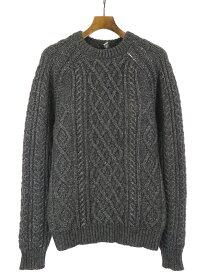 【中古】Dior HOMME ディオールオム アルパカシルクケーブルニットセーター チャコールグレー S メンズ